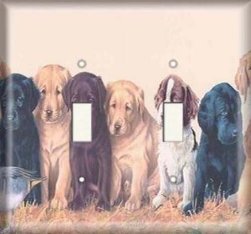 Double Light Switchplate Cover - Dog Gathering