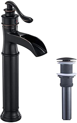 Homemystique Tall Bathroom Vessel Sink Faucet Waterfall Oil Rubbed Bronze Lavatory Single Handle One Hole Deck Mount Commercial Supply Line Lead-Free
