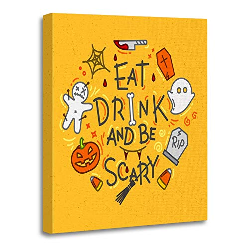 Emvency Painting Canvas Print Artwork Decorative Print Wooden Frame Halloween in Flat Style Lettering Eat Drink and Be Scary Drawing on Mustard 16x20 Inches Wall Art for Home Decor