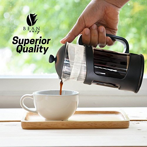 Professional Grade 34 oz French Press Coffee Maker & Premium Milk Frother With Stainless Steel Stand - Save Time & Money With Homemade Lattes! Spice Up Your Countertop & Taste Buds Every Morning! by Bean Envy (Image #2)
