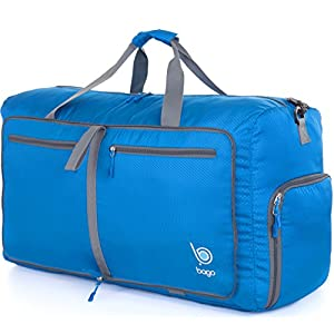 "Bago Travel Duffel Bag For Women & Men - Foldable Duffle For Luggage Gym Sports - 23"" ( Medium - Blue )"