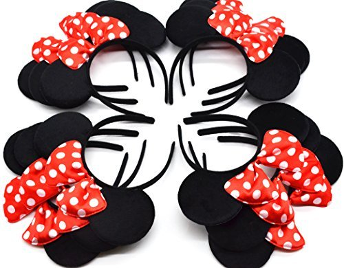 W Fashion shop Minnie Mouse Ear Headband  with Red Bow, Set of - Headbands Shop