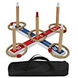 Nova Microdermabrasion Ring Toss Game Set Wooden Rope Ring Throwing Game For Children, Adults, Seniors W/Carrying Case