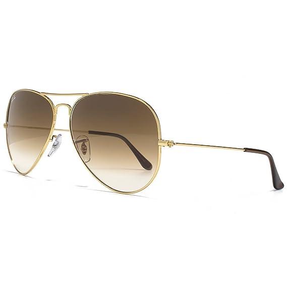 Ray-Ban Gafas de sol de aviador clásico en oro marrón degradado RB3025 001/51 62