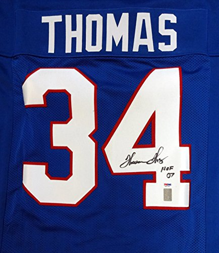 "BUFFALO BILLS THURMAN THOMAS AUTOGRAPHED BLUE JERSEY ""HOF 07"" PSA/DNA STOCK #99433"