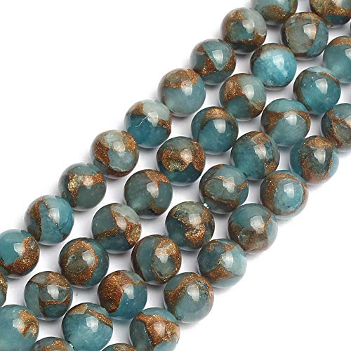 - Love Beads Lake Blue Cloisonne Stone Round Loose Exquisite Beads 8mm 15inches Beads for Jewelry Making DIY Findings