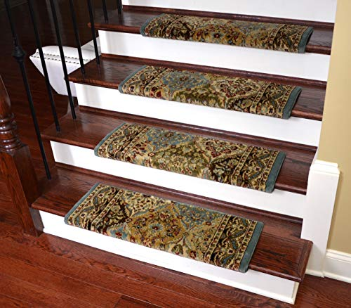 Dean Non-Slip Tape Free Pet Friendly Stair Gripper Bullnose Carpet Stair Treads - Panel Kerman Cloude 31