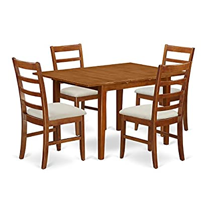 East West Furniture 5 Piece Set Milan Kitchen Table with Leaf and 4 Upholstered Seat Chairs in Saddle Brown Finish -  - kitchen-dining-room-furniture, kitchen-dining-room, dining-sets - 51QAEaQSTmL. SS400  -