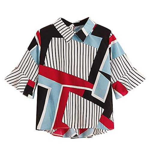Plus Size Tops for Women Casual Geometric Striped Printed Flare Sleeve High Low T-Shirt Blouse ()