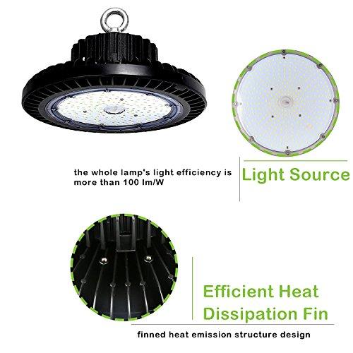 Hykolity 100W UFO LED High Bay Light Fixture, 11000lm