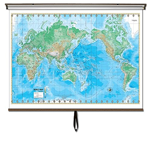 World Advanced Physical Classroom Wall Map on Roller w/Backboard