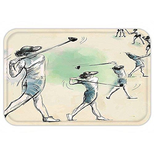 VROSELV Custom Door MatSportArtistic Golf Player in Motion Club Game Sketch Style Illustration Cream Fern Green Petrol (Md Golf Players)