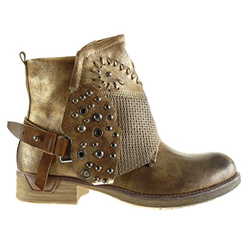 studded 5 CM biker Angkorly braided buckle vintage classic Women's Booty Gold Fashion boots Shoes 3 style Heel Block Ankle wSTavqxSY