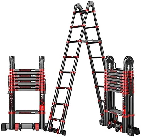 YXLONG Escalera Doble Telescopica Extensión Telescópica De Aluminio Multipropósito Extensión Extensible Escalera Portátil Escalera Plegable Escalera De Bambú Telescópica Portátil,2.1m+2.1m: Amazon.es: Deportes y aire libre