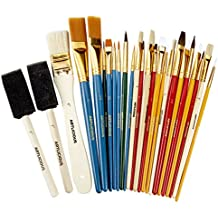 Artlicious - All Purpose Paint Brush Value Pack - Great with Acrylic, Oil, Watercolor, Gouache (25 Brushes)