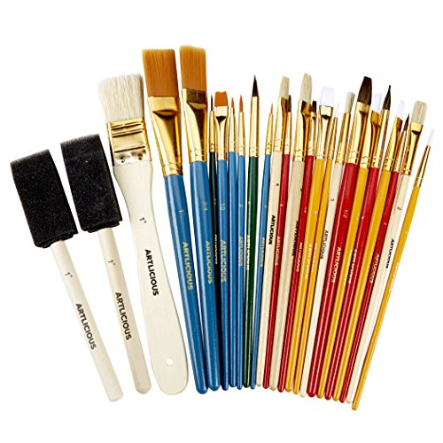 Artlicious - 25 All Purpose Paint Brush Value Pack - Great with Acrylic, Oil, Watercolor, Gouache -
