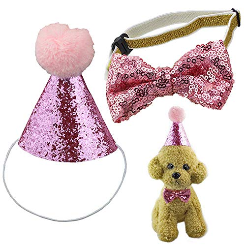 - ANIAC Pet Adjustable Birthday Party Hat with Pom-pom and Bow Tie Collar Set Accessories for Cats Puppy Kitten and Small Dogs (Pink)