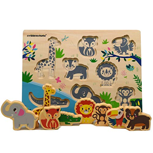 GYBBER&MUMU Animals Shape Sorter Board Wooden Peg Puzzles for Toddlers Early Skills Educational - Peg Mix N Puzzle Match
