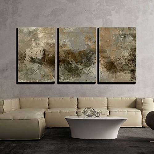 vas Wall Art - Art Abstract Monochrome Acrylic Background in Beige, Black, Grey and Brown Colors - Modern Home Decor Stretched and Framed Ready to Hang - 16