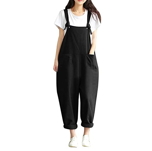 195c305d29ead Women s Vintage Cotton Linen Wide Leg Overalls Jumpsuit Rompers Harem Pants  with Two Front Pocket Plus