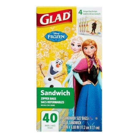 Glad Disney – Bolsa para Sándwiches bolsita de Congelación y de Conservación Frozen 40 Piezas