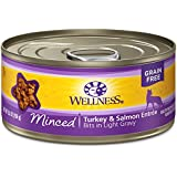 Wellness Complete Health Natural Grain Free Wet Canned Cat Food, Minced Turkey & Salmon Entrée, 5.5-Ounce Can (Pack Of 24)