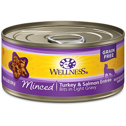 Wellness Complete Health Natural Grain Free Wet Canned Cat Food, Minced Turkey & Salmon Entr