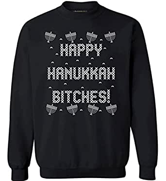 Awkwardstyles Ugly Christmas Happy Hanukkah Bitches Sweater Merry Xmas Crewneck S Black