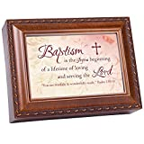 Baptism Cottage Garden Wood Grain Finish Jewelry Music Box – Plays Song Jesus Loves Me