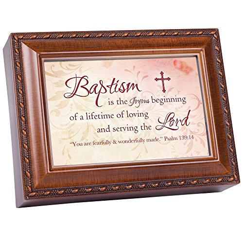 Baptism Cottage Garden Wood Grain Finish Jewelry Music Box - Plays Song Jesus Loves Me