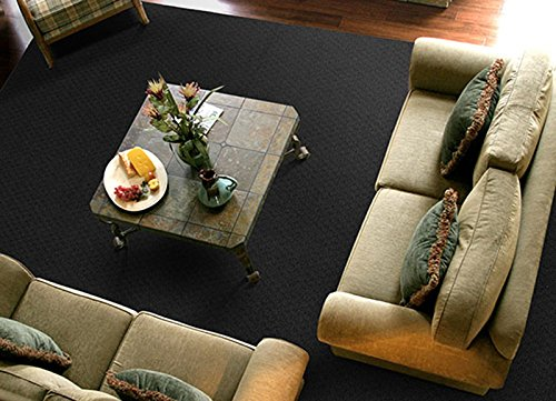 Garland Rug Town Square Area Rug, 5-Feet by 7-Feet, Black (Solid Black Area Rug)