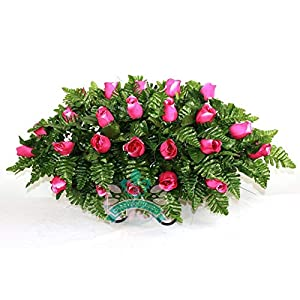 XL Hot Pink Roses Silk Flower Cemetery Tombstone Saddle Arrangement 109