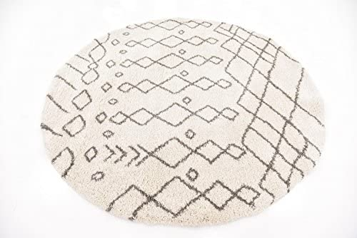 Unique Loom Rabat Shag Collection Tribal Moroccan Nomad Plush Pure Ivory Round Rug 8 0 x 8 0