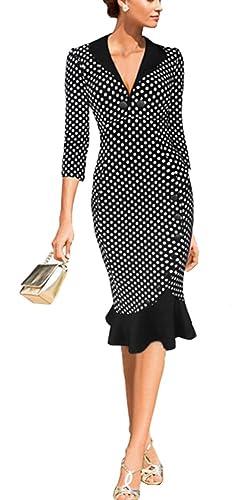 Colyanda Women's Vintage V-neck Polka Dot Business Wear Pencil Wiggle Dress