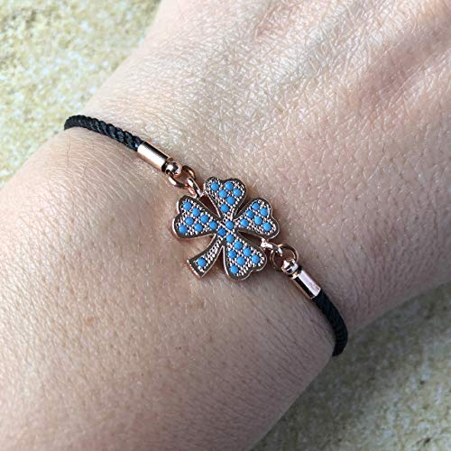 - Four Leaf Clover Charm Adjustable Bracelet for Women & Girls -St.Patriks Day Gift - Lucky Symbol Shamrock - Sliding Clasp Rosegold Plated Brass - Blue CZ Jewelry