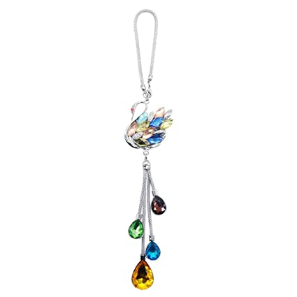 Amazon Com Kiwilife Car Hanging Ornament Crystal Swan Car Hanging