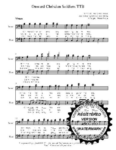 Onward Christian Soldiers  25 copies A capella  TBB Choral Sheet Music! Acappella music arranged for 3 part  male choir or trio. 25 copies of the song included