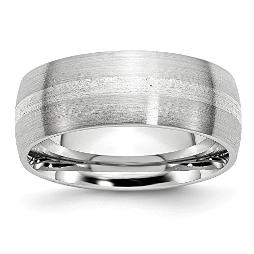 Cobalt Sterling Silver Inlay Satin 8mm Band- Size 10.5 ()
