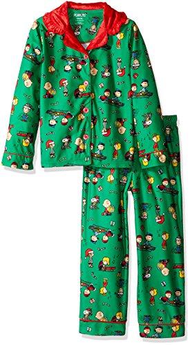 Peanuts Big Girls' 2pc Holiday Sleepwear Coat Set, Green, Medium (7-8) -