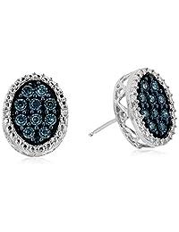 10k White Gold Round Blue Diamond Stud Earrings (1/10cttw, I3 Clarity)