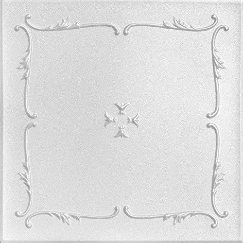 A la Maison techos 812primavera Buds–Azulejos de techo de poliestireno (paquete de 8, baldosas), color blanco liso