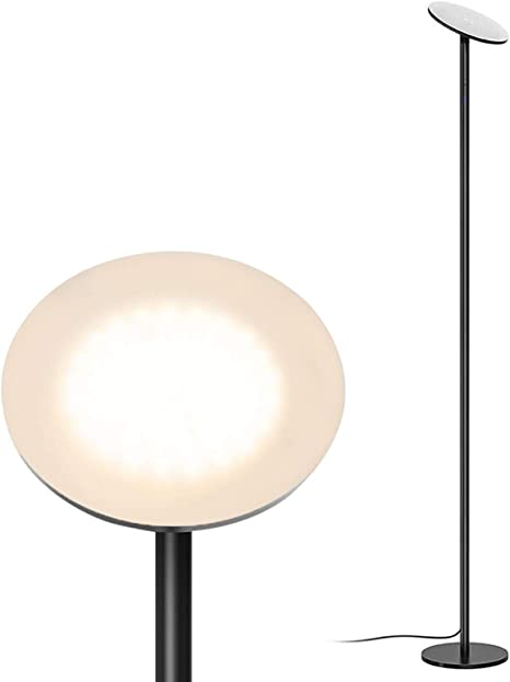Amazon Com Trond Led Torchiere Floor Lamp 5 Level Dimmable 30w 3000k Warm White Light 71 Inch Tall Max 5000 Lumens 30 Minute Timer Wall Switch Compatible For Living Room Bedroom Office Black Home Improvement