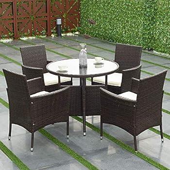Amazon Com Barton 5 Piece Outdoor Dining Set Square Patio