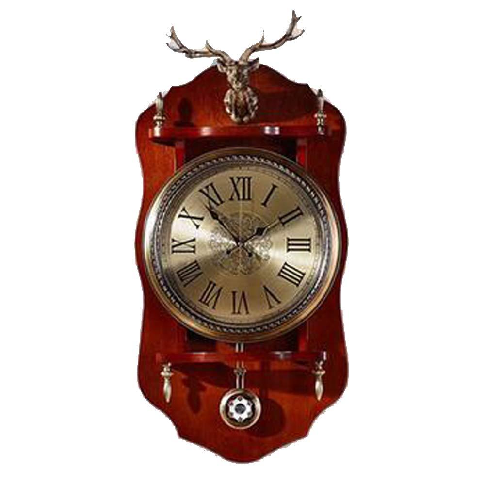 MEI GUI ウォールクロック - リビングルーム合金時計スタディスイングクロッククリエイティブウォールクロック (色 : Brown, サイズ さいず : 79*40cm) 79*40cm Brown B07KJM91R3
