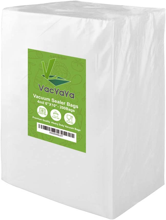 Upgrade!! VacYaYa 4mil 200 Pint Size 6 x 10 Inch Vacuum Sealer Storage Bags for Food Saver,Vac Seal a Meal Bags with BPA Free and Heavy Duty Sous Vide Vaccume Seal Safe PreCut Bag