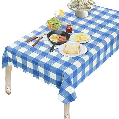 OUWIN 100% Waterproof Rectangle Tablecloth Spill-Proof Wipeable PVC Vinyl Table Cover Indoor Outdoor Picnic Table Cloth (54 x 84, Blue Checkered) (Gingham Vinyl Tablecloth)