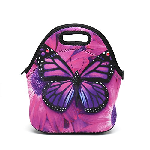 Butterfly Lunch Bag (Boys Girls Kids Women Adults Insulated School Travel Outdoor Thermal Waterproof Carrying Lunch Tote Bag Cooler Box Neoprene Lunchbox Container Case (Purple Butterfly))