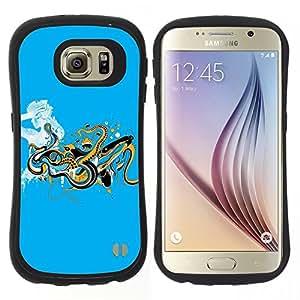 """Hypernova Slim Fit Dual Barniz Protector Caso Case Funda Para Samsung Galaxy S6 [Serpientes Reptiles señora Woman minimalista""""]"""