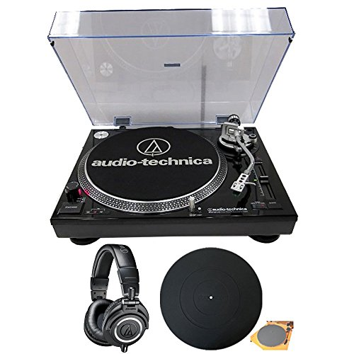 Audio-Technica (ATLP120USB) Professional Stereo Turntable w/ USB LP to DIG Recording Piano Black with (ATH-M50X) Professional Studio Headphones (Black)
