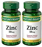 Zinc 50 mg, 100 Caplets (2 Bottles)